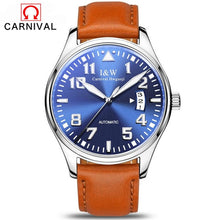 Load image into Gallery viewer, Carnival Men's Classic Luminous Series Mechanical Watches Waterproof Genuine Leather Brand Luxury Watch Men Relogio Masculino