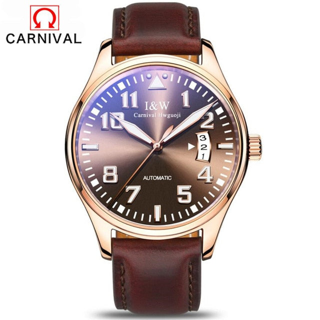Carnival Men's Classic Luminous Series Mechanical Watches Waterproof Genuine Leather Brand Luxury Watch Men Relogio Masculino