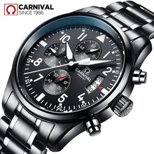 Load image into Gallery viewer, Carnival Mens Watches Top Brand Luxury Switzerland Quartz Watch Men Sport Chronograph Luminous Wrist Watch for Men reloj hombre