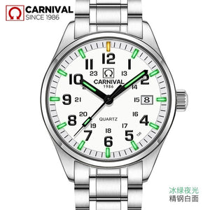 Carnival New T25 Tritium Luminous Quartz Watch Men Full Steel Black Watches Mens Clock Army Man Sport Wristwatch erkek kol saati