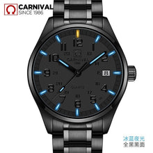 Load image into Gallery viewer, Carnival New T25 Tritium Luminous Quartz Watch Men Full Steel Black Watches Mens Clock Army Man Sport Wristwatch erkek kol saati