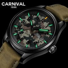 Load image into Gallery viewer, Carnival T25 Tritium Gas Luminous Quartz Watch Men Sport Camouflage Mens Watches Top Brand Luxury Male Clock relogio masculino