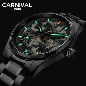 Carnival T25 Tritium Gas Luminous Quartz Watch Men Sport Camouflage Mens Watches Top Brand Luxury Male Clock relogio masculino