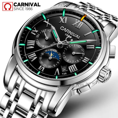 Carnival T25 Tritium Luminous Mechanical Watch Men Watches 2019 Luxury Brand Calendar Automatic Wristwatch Man Relojes Hombre