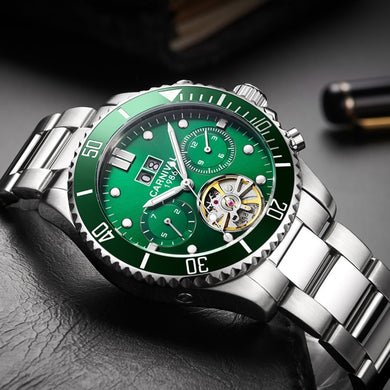 Carnival Tourbillon Automatic Mechanical Watch Men Watches Top Brand Luxury Waterproof Luminous Green Sport Watches relogio 2019