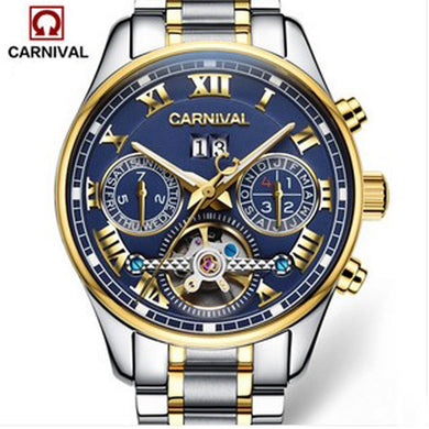 Carnival tourbillon hot automatic mechanical brand men's watches fashion army sports waterproof luminous watch luxury full steel