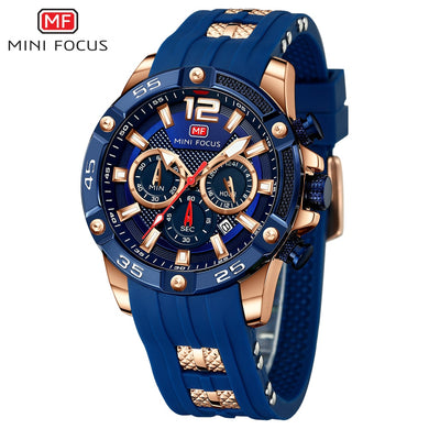Casual Sport Watches for Men Blue Top Brand Luxury Military  Silicone Wrist Watch Man Clock Fashion Chronograph Wristwatch