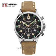 Load image into Gallery viewer, Chronograph T25 tritium luminous stop watch men luxury brand Switzerland Ronda quartz watches men clock leather strap waterproof