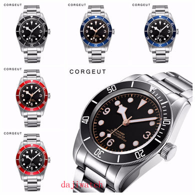 Corgeut Mechanical Watch luminous sapphire Schwarz Bay Men Automatic Sport Swim Clock Luxury Brand male Mechanical Wrist Watches