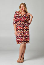 Load image into Gallery viewer, Women's Plus Size 3/4 Sleeve Printed Wrap Dress