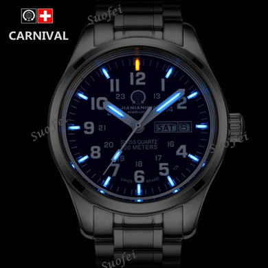 Double calendar Date T25 Tritium Luminous Quartz military watch waterproof 200M Sapphire Brand Watches Mens full steel relojes