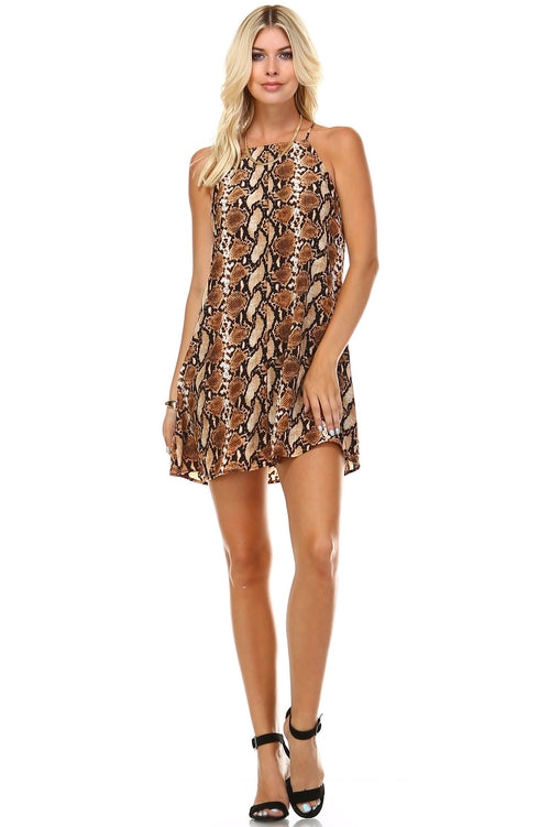 Women's Printed Square Neck Sleeveless Dress