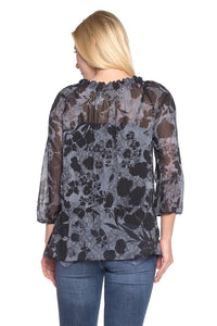 Women's Floral Printed Chiffon Button Front Top
