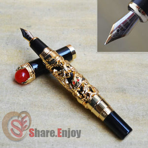 FOUNTAIN PEN FINE 18KGP NIB JINHAO GOLDEN DRAGON KING PLAY PEARL BLACK / WHITE / GREY/  FOR CHOICE OFFICE BUSINESS BEST GIFT
