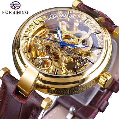 Forsining 2018 Golden Watches Fashion Blue Hands Mens Automatic Self-wind Watches Top Brand Brown Genuine Leather Luminous Hands