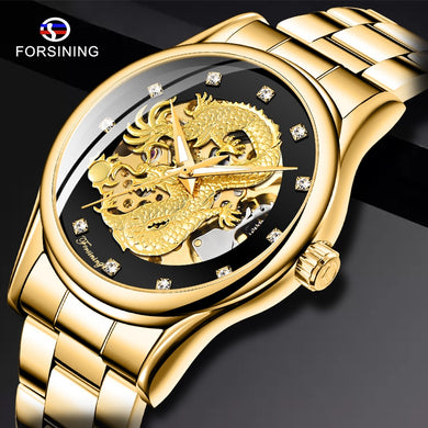 Forsining Gold Dragon Automatic Mechanical Watch Casual Men Watches Stainless Steel Top Brand Luxury Business Fashion Watch Men