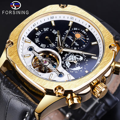 Forsining Man Watch Golden Case Clock Black Top Brand Luxury Automatic Mechanical Leather Strap Calendar Week Mechanical Watches
