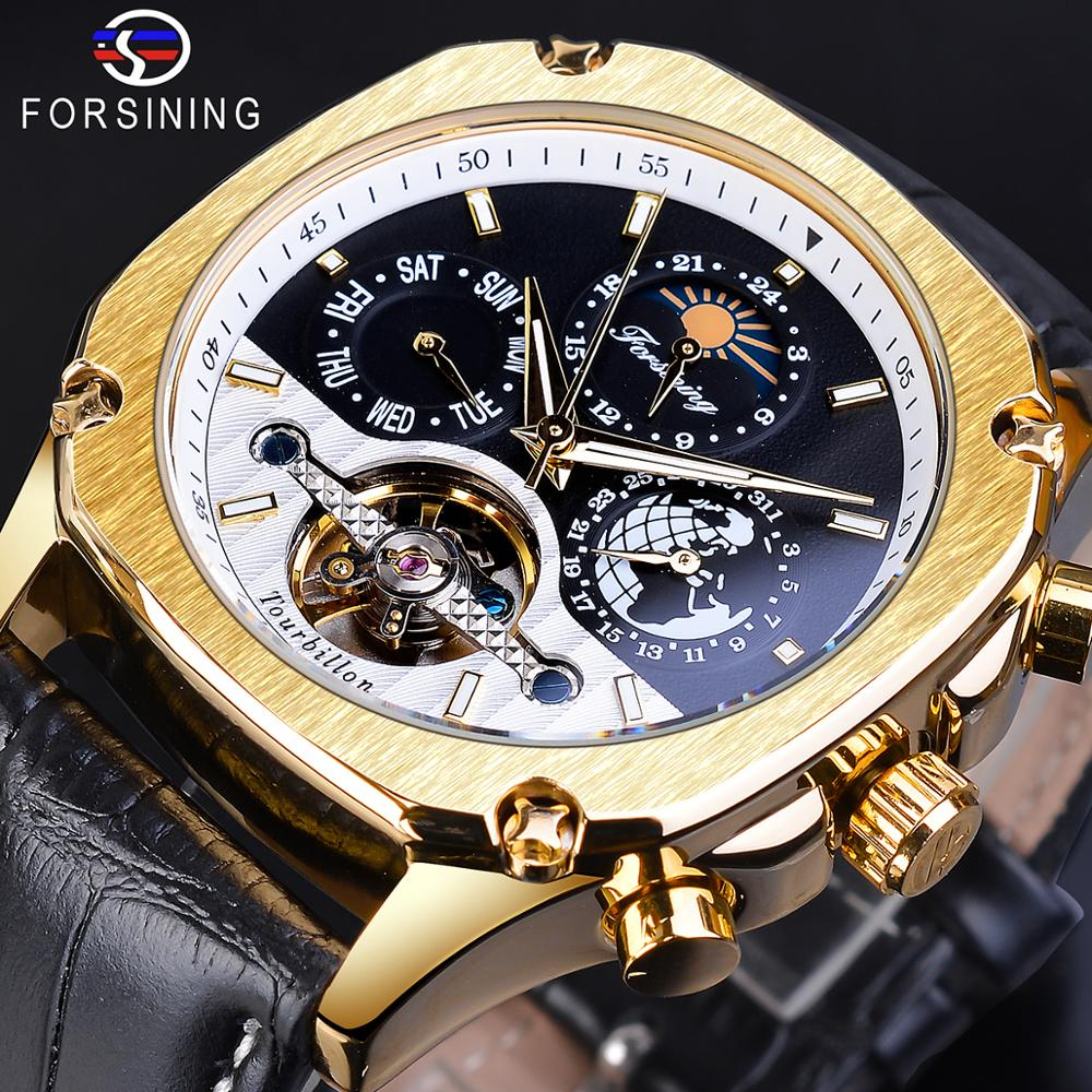 Forsining Mens Watches Business Watch Golden Case Leather Strap Calendar Week Top Brand Luxury Automatic Mechanical Man Clock