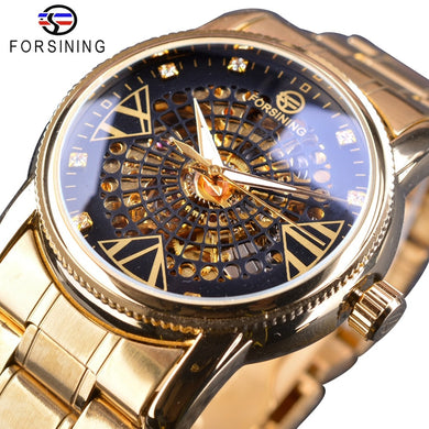 Forsining Royal Golden Skeleton Diamond Display Men Transparent Creative Wristwatch Top Brand Luxury Steel Automatic Watch Clock