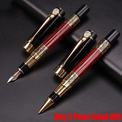 Free Shipping Classic Design Hero Brand Student Red Wood Fountain Pen Business Gift Luxury Metal Pen Buy 2 Pens Send Gift