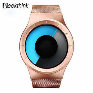 GEEKTHINK Quartz Mens Watches Top Brand Luxury Casual Stainless steel Mesh Band Unisex Watch Clock Male female Gentleman gift