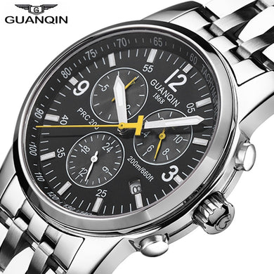 GUANQIN Sport watches men Top brand luxury Swimming Automatic Watch men Calendar 200m Waterproof Luminous Week Relogio Masculino