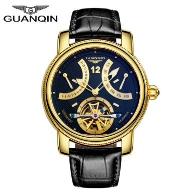 GUANQIN Watches Men Automatic mechanical Top Brand Luxury Fashion Casual Watch Clock Luminous Tourbillon Leather strap Men Watch