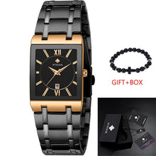 Load image into Gallery viewer, Gold Luxury Brand Mens Watches Business Watch Mens Military Quartz Square Watches Stainless Steel Strap Casual Wristwatch Gift