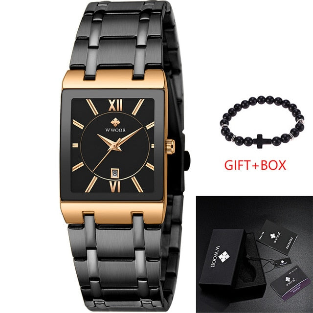 Gold Luxury Brand Mens Watches Business Watch Mens Military Quartz Square Watches Stainless Steel Strap Casual Wristwatch Gift