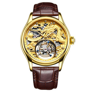 Guanqin Skeleton Mechanical Tourbillon  Men Watch Waterproof  Leather 2019 Original Brand Luxury Tourbillon relogio masculino
