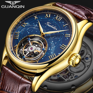 Guanqin Tourbillon Mechanical Watch Men Skeleton 100% Original Brand 2019 luxury Waterproof Leather Watch Relogio Masculino