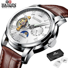 Load image into Gallery viewer, HAIQIN 2019 Fashion Business Mechanical watch mens top brand luxury Military wristwatch men Leather Tourbillon Relogio Masculino