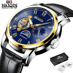 HAIQIN 2019 Fashion Business Mechanical watch mens top brand luxury Military wristwatch men Leather Tourbillon Relogio Masculino