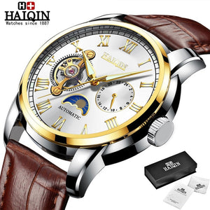 HAIQIN 2019 Fashion Men Mechanical watch top brand luxury Military wristwatch mens automatic watch Tourbillon Relogio Masculino