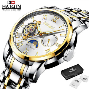 HAIQIN 2019 new Mechanical mens watches sport wristwatch mens watches top brand luxury watch men Steel Tourbillon relojes hombre