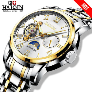 HAIQIN Automatic Mechanical watches mens Military wrist watch mens watches top brand luxury watch men Tourbillon relojes hombre