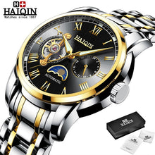 Load image into Gallery viewer, HAIQIN Business Mechanical mens watches top brand luxury Military wristwatch men waterproof Leather Tourbillon montre homme 2019
