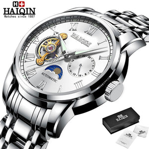 HAIQIN Business Mechanical mens watches top brand luxury Military wristwatch men waterproof Leather Tourbillon montre homme 2019