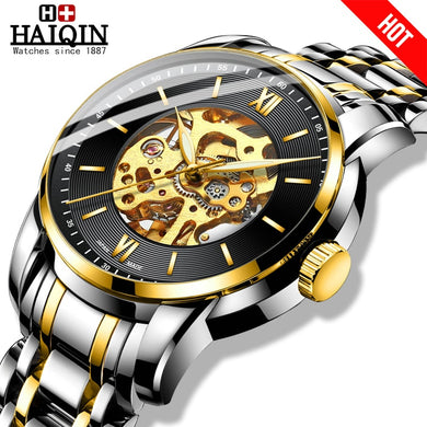 HAIQIN Fashion mechanical watch men Gold skeleton wristwatch mens watches top brand luxury watch men Business Reloj hombres 2019
