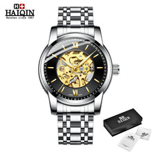 Load image into Gallery viewer, HAIQIN Full Gold Mechanical Mens watch skeleton wristwatch mens watches top brand luxury watch men waterproof Reloj hombres 2019