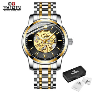 HAIQIN Full Gold Mechanical Mens watch skeleton wristwatch mens watches top brand luxury watch men waterproof Reloj hombres 2019