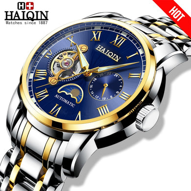 HAIQIN Gold Mechanical watches mens Military wrist watch mens watches top brand luxury watch men Tourbillon relojes hombre 2019