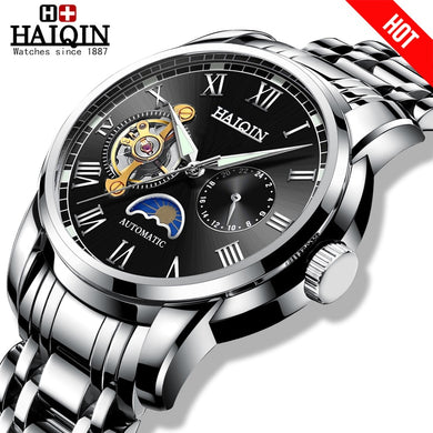 HAIQIN Men's Watches mechanical watches mens Tourbillon Military wristwatch mens watches top brand luxury Relogio Masculino 2019