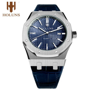 HOLUNS watch men watches top brand luxury MIYOTA quartz watch 42mm big dial full Stainless Steel Sapphire waterproof luminous