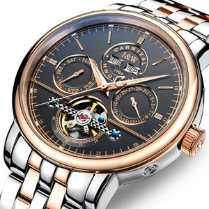 High end Mechanical watch CARNIVAL Business Tourbillon Automatic Watch with Perpetual Calendar,Week,Calendar Luminous Watch men