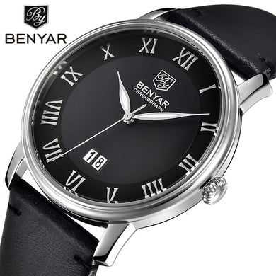 Hot Sale Mens Watches Top Brand Luxury Watch BENYAR Big Dial Design Roman Numerals Fashion Quartz