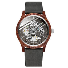 Load image into Gallery viewer, IK Colouring Men Watch Fashion Casual Wooden Case Crazy Horse Leather Strap Wood Watch Skeleton Auto Mechanical Male Relogio