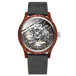 IK Colouring Men Watch Fashion Casual Wooden Case Crazy Horse Leather Strap Wood Watch Skeleton Auto Mechanical Male Relogio