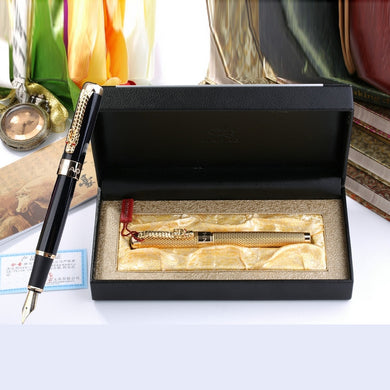 Jinhao 1200 High Quality Business Pen Set 0.5mm Nib Metal Fountain Pen with Dragon Clip Ink Pens with Gift Box Free Shipping
