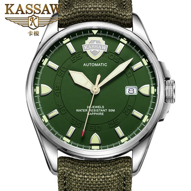 KASSAW Watch Men's Military Watch Leather Luminous Automatic Mechanical Watch Sports Hollow Waterproof Men's Watch